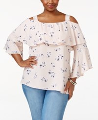 Ing Trendy Plus Size Floral Print Ruffled Off The Shoulder Top Light Pink Floral