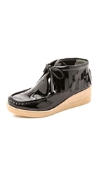 Derek Lam 10 Crosby Eden Lace Up Wedge Wallaby Black