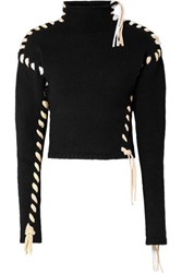 Acne Studios Kerri Whipstitched Wool Turtleneck Sweater Black