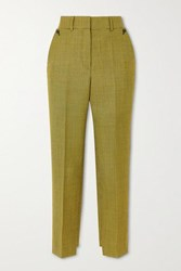 Petar Petrov Hernan Houndstooth Wool And Mohair Blend Tapered Pants Yellow