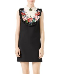 Gucci Floral Embroidered Cady Crepe Dress Black White Black White