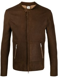 Giorgio Brato Concealed Zip Leather Jacket Brown