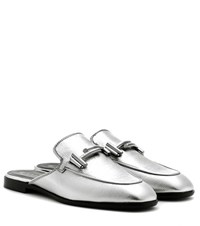 Tod's Leather Mules Silver
