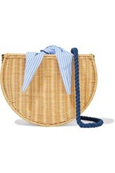 Kayu Woman Dylan Wicker And Striped Cotton Canvas Shoulder Bag Neutral