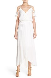 Women's Fraiche By J Cold Shoulder Wrap Front Maxi Dress