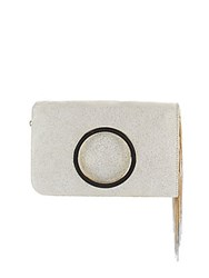 Halston Textured Leather Foldover Clutch Gold