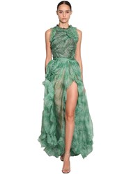 Ermanno Scervino Printed Long Ruffled Organza Dress Green