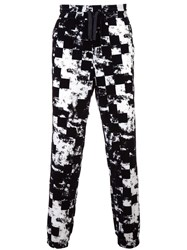 Versus Checked Drawstring Trousers Black