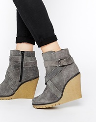 Ravel Wedge Suede Ankle Boots Greysuede