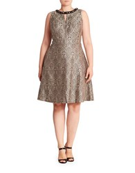 London Times Plus Roundneck Jacquard Fit And Flare Dress