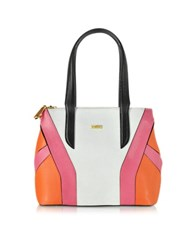 Pinko Miss Isabel Color Block Embossed Leather Tote Bag White
