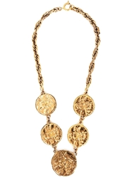 Chanel Vintage Coin Charm Necklace Metallic