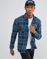 Brixton Bowery Flannel Check Shirt In Blue Blue
