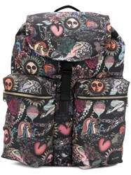 Paul Smith Patterned Multi Pocket Backpack Black
