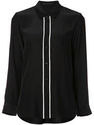 Jenni Kayne Contrast Trim Button Up Shirt Black