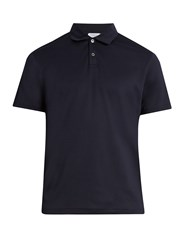 Sunspel Cotton Jersey Polo Shirt Navy