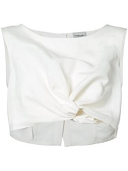 Rachel Comey Cropped Tank Top Women Silk Linen Flax S White