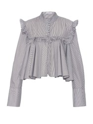 J.W.Anderson Striped Long Sleeved Ruffled Blouse Black White