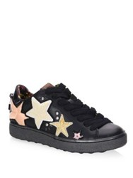 Coach Leather Lace Up Low Top Sneakers Black