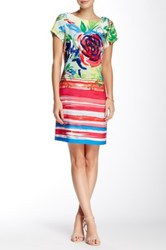Robbie Bee Scoop Neck Short Sleeve Dress Multi