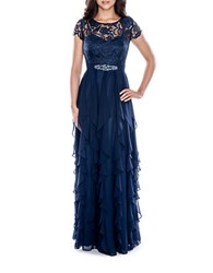 Decode 1.8 Lace Bodice Tiered Ruffle Gown Navy