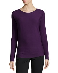 Neiman Marcus Long Sleeve Ribbed Tee Purple
