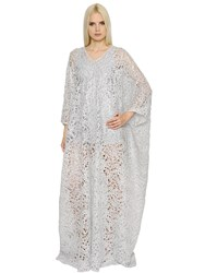 Ingie Shiny Spiral Lace Long Caftan Dress