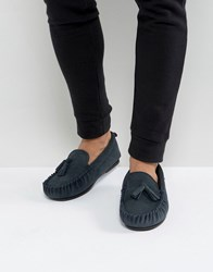 Dunlop Tassel Slippers In Navy Suede Navy