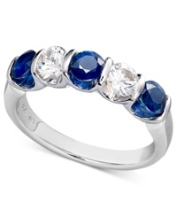 Macy's Sterling Silver Ring Blue And White Sapphire Channel Set Ring 1 3 4 Ct. T.W.