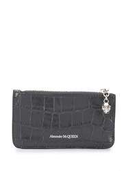 Alexander Mcqueen Crocodile Embossed Coin Pouch Grey