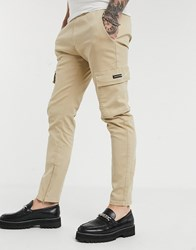 Good For Nothing Skinny Cargo Trousers In Stone Beige