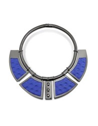 Avril Geometrie Ruthenium Plated Brass And Golden Viscose Collar Necklace W Studs Blue
