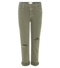 Current Elliott The Fling Distressed Jeans Green