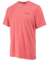 Columbia Men's Logo Performance Sun Protection T Shirt Sunset Red