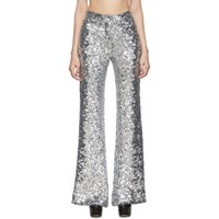 Halpern Silver Sequin Stovepipe Trousers