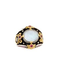 Konstantino Pink Tourmaline And Pink Crystal Quartz Over Sapphire Ring Silver