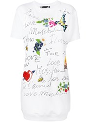 Love Moschino Graphic Print T Shirt Dress White