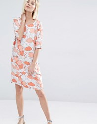 Selected Tunni Dress In Coral Print Dessert Sand