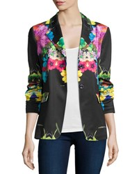 Berek Flower Pop Two Button Jacket Petite Black Multi