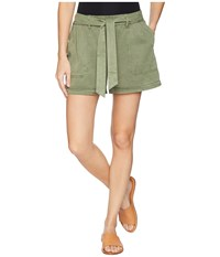 Vince Camuto Two By Tie Waist Lyocell Twill Shorts Canopy Green Olive