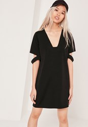 Missguided Square Neck Cut Out Sleeve Dress Black Black