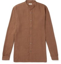 Camoshita Grandad Collar Cotton Blend Shirt Brown