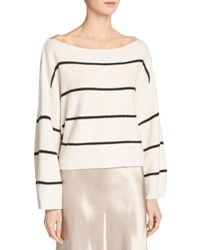 Vince Wide Stripe Cashmere Boat Neck Sweater White