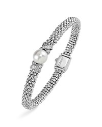 Lagos Sterling Silver Luna Button Pearl Diamond X Rope Bracelet White Silver