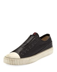 John Varvatos Laceless Coated Canvas Low Top Sneakers Black
