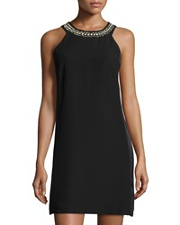 Rebecca Taylor Sleeveless Crepe Crisscross Back Dress W Embellished Neckline Black