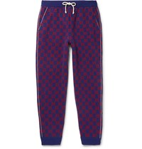 Gucci Tapered Logo Intarsia Wool And Cashmere Blend Sweatpants Blue