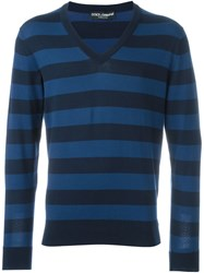Dolce And Gabbana V Neck Striped Jumper Blue