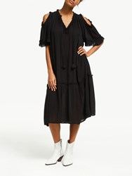 And Or Decca Ruffle Detail Midi Dress Black