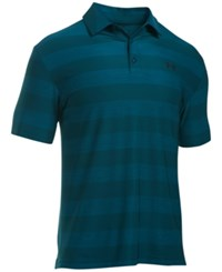 Under Armour Men's Playoff Performance Striped Golf Polo Nova Teal Stipe